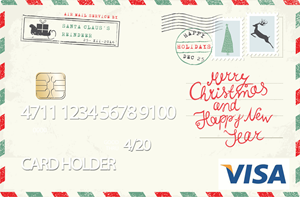 Pre-loaded cash card image of a holiday postcard.