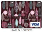 Owls and feathers gift card