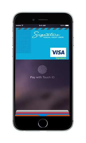 Phone with credit card image on it showing what apple pay looks like