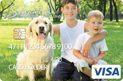 Create a card example image of two boys and their dog.