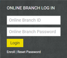 Screenshot of Online Branch Login