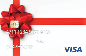 Pre-loaded cash card image of a red bow to look like a wrapped present.