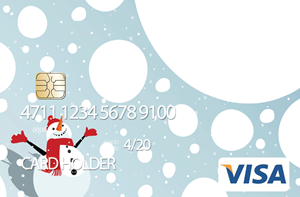 Pre-loaded cash card image of snowman with snow.