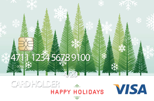 Pre-loaded cash card image of green trees with snow.